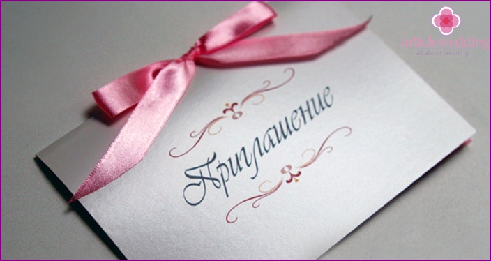 Invitations for the day in free style wedding