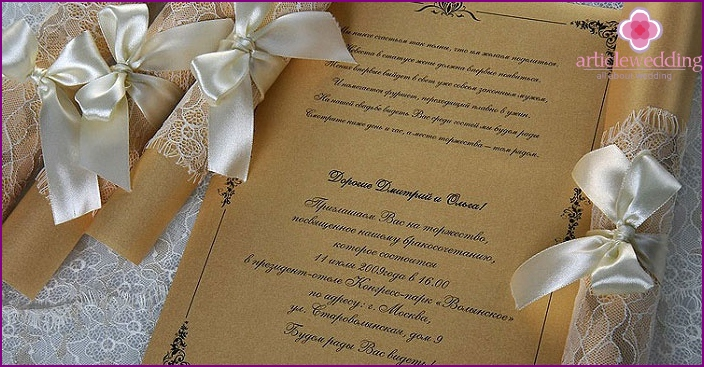 Professional scrolls to the wedding