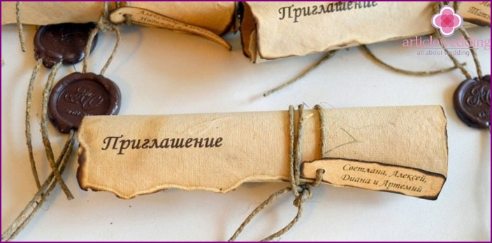 Invitation to the wedding with tag