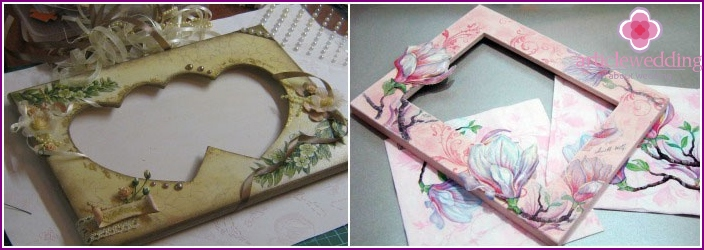 Invitation to the wedding in the style of decoupage