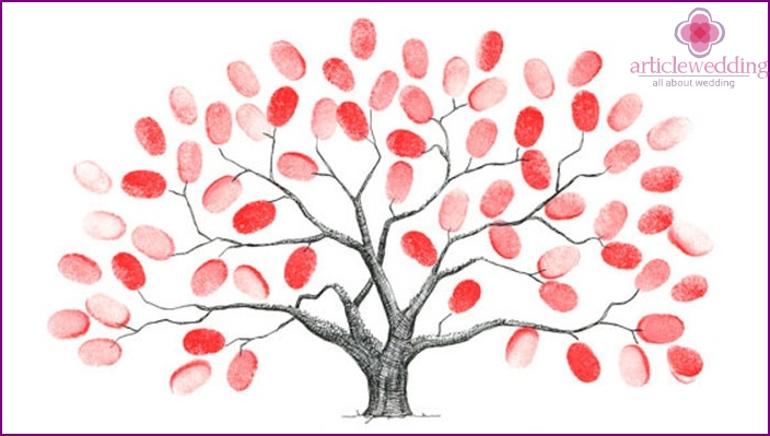 Wishes on fingerprints for wedding tree