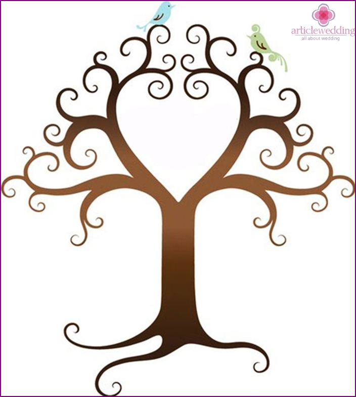 Template picture for the wedding wish tree