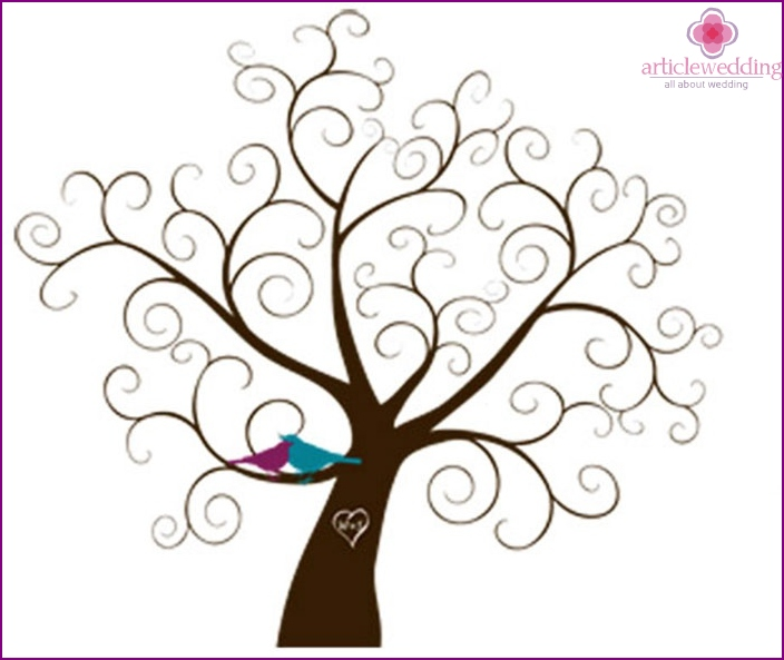 Monogram on the branches of trees wedding wishes