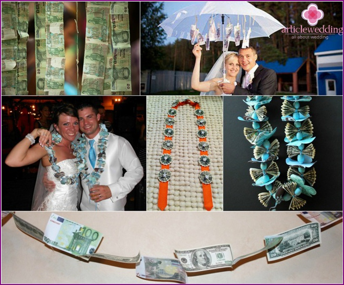 Beautiful garland of money to the wedding