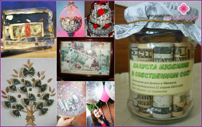 Beautiful gifts with the money for the wedding
