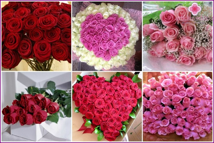 A bouquet of roses as a gift for the wedding