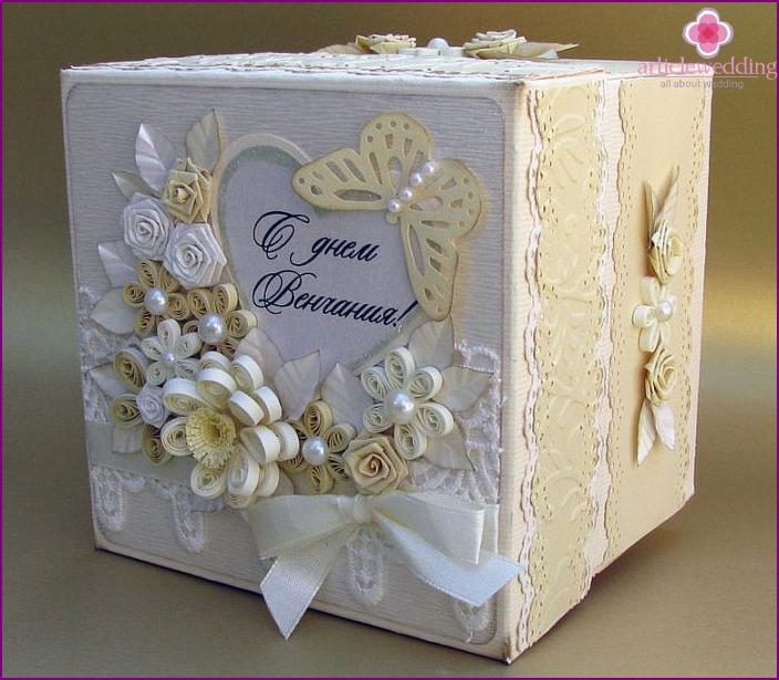 Homemade wedding gift box with money