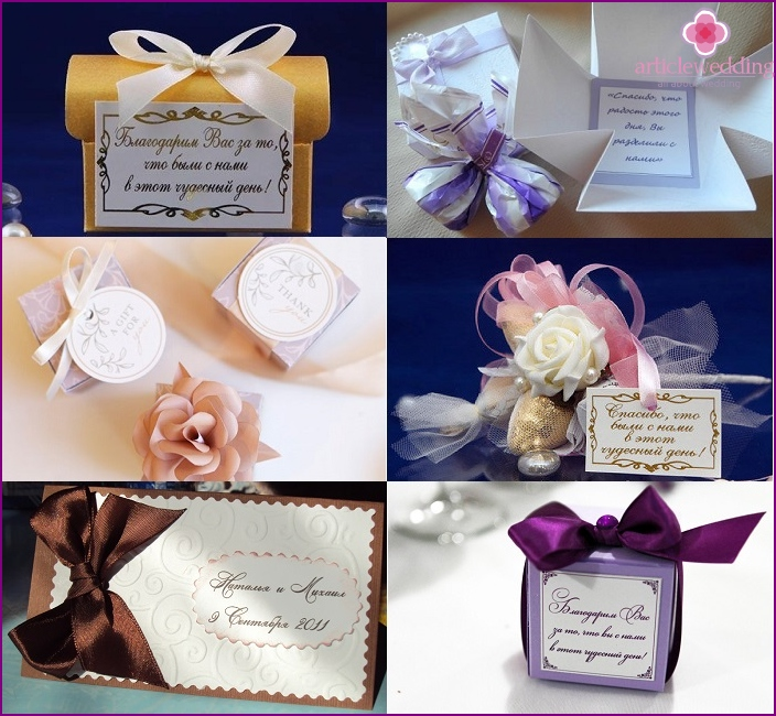 Examples of labels for wedding candy boxes
