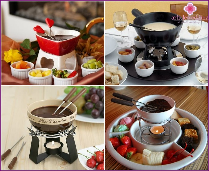 A useful wedding gift - a set for fondue
