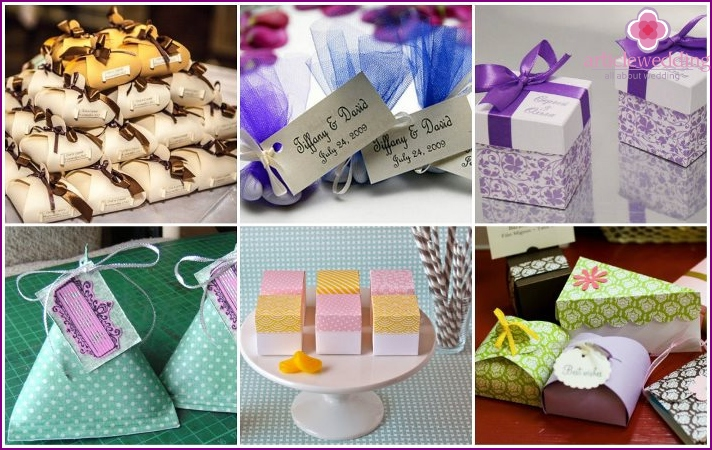 Wedding candy boxes with their own hands