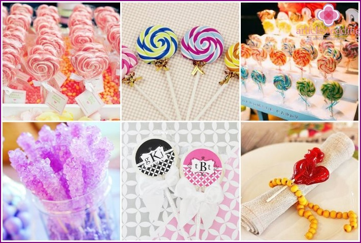 Wedding candy boxes of lollipops