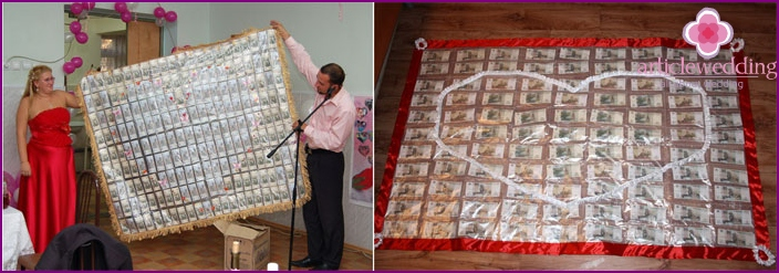 Carpet of money for the wedding, made with his own hands