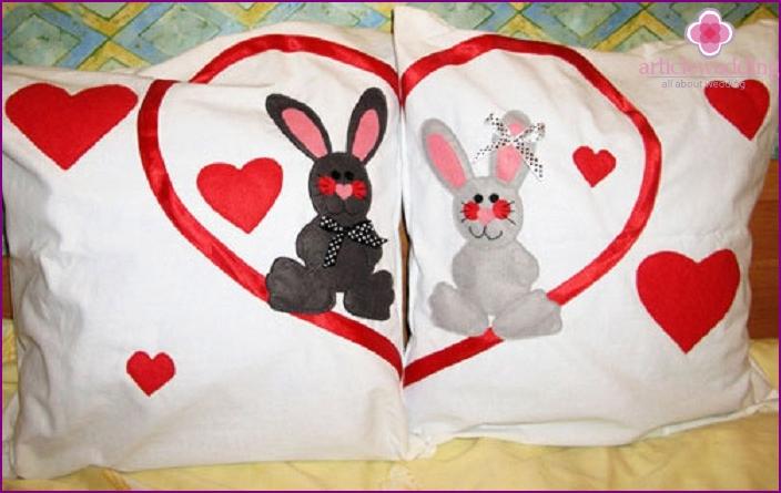 Lovely linen pillowcases on wedding anniversary