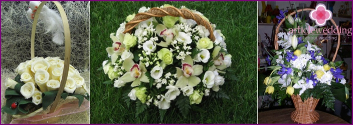 Flower arrangements in baskets