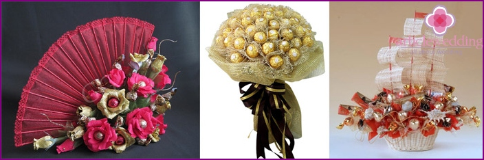Sweet candy bouquets for the wedding