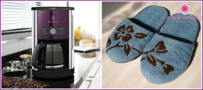 A useful gift - a coffee maker and slippers