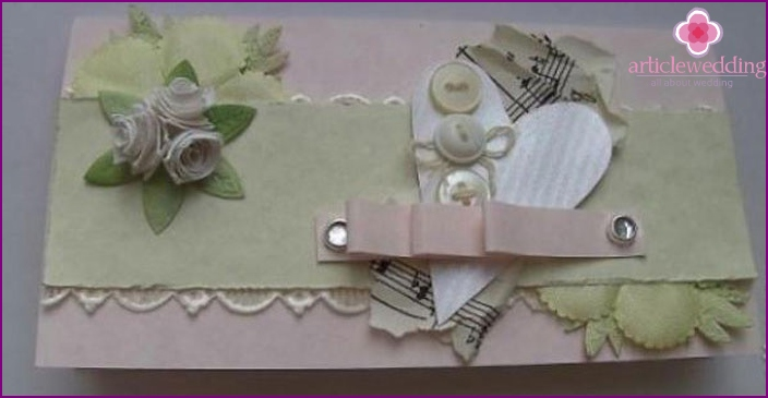 Envelope for a wedding with his own hands: scrapbooking