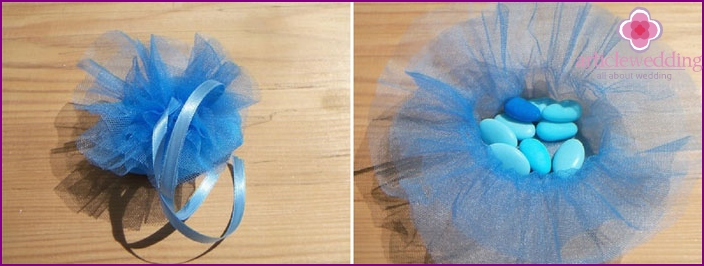 Bonbonnière made using tulle