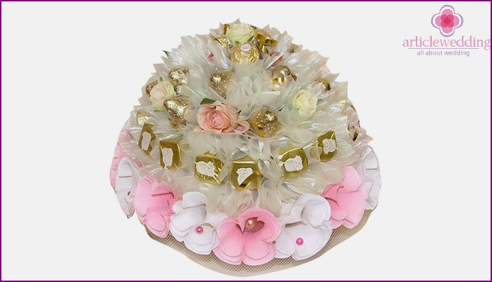 Candy bouquet on wedding