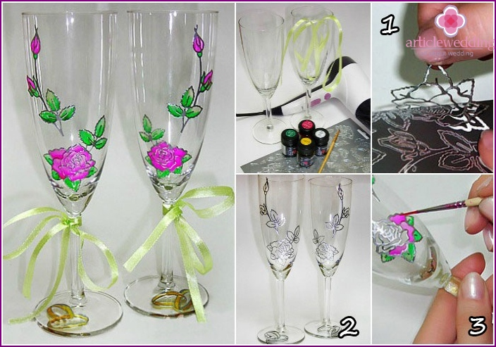 Decorate wedding wine glasses colors