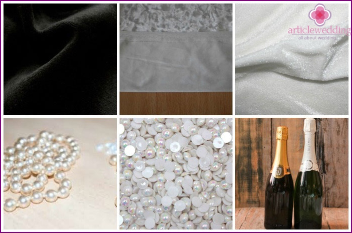 Materials for bottles with velvet decor