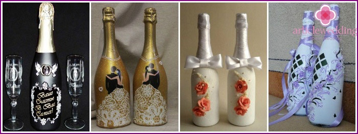 Ideas for wedding decoration champagne with his own hands