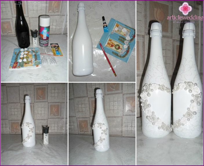 Master class decoration polymer clay bottle