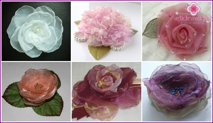 Textile flowers organza