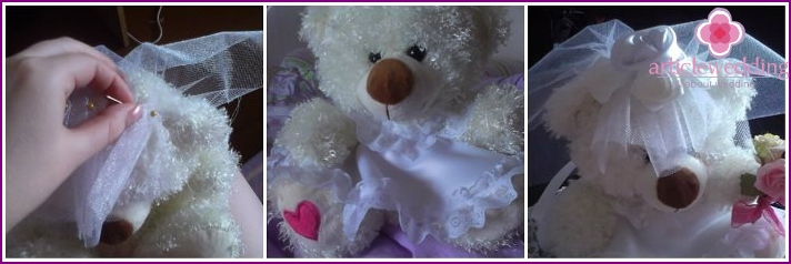 Sewing of wedding accessories for plush toys
