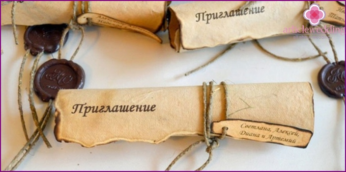 Invitation roll with their hands in the old style
