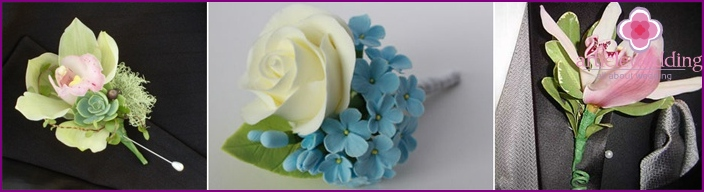 Wedding accessories boutonniere groom with their hands