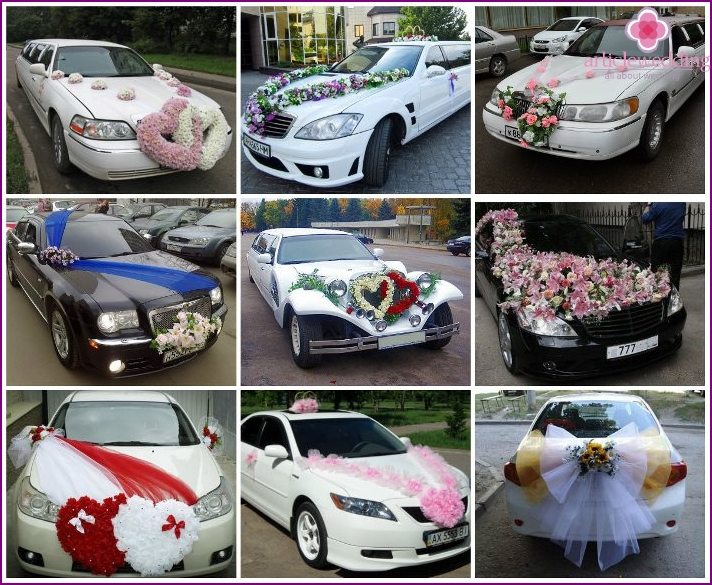 The elegant decoration of the wedding car