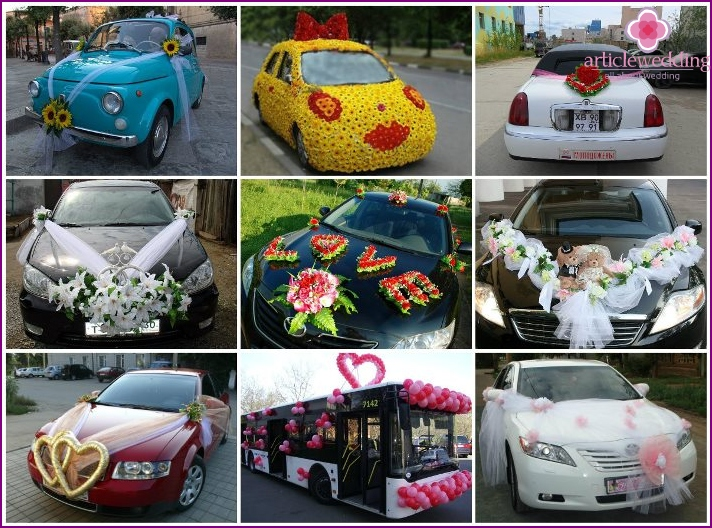 Beautiful decor items for the wedding car