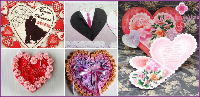Cards for wedding heart-shaped