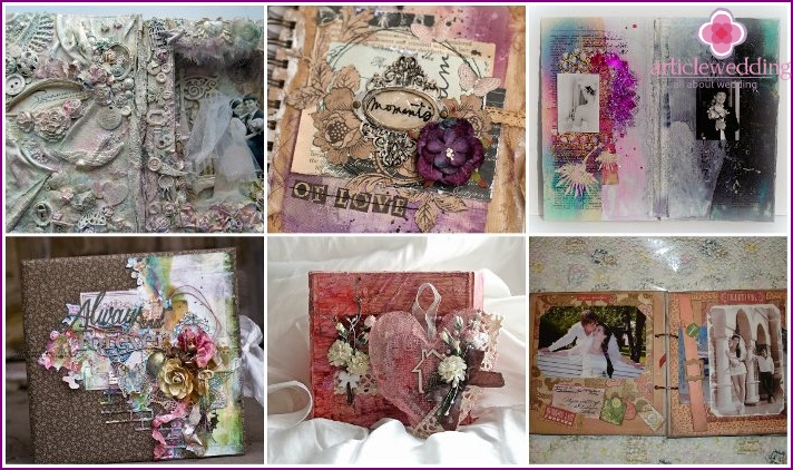 Scrap wedding album to mix media style