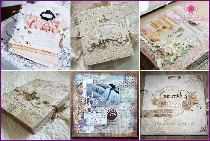 Example decorations cover the wedding scrapbook album