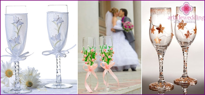 Фужеры на свадьбу своими руками мастер класс фото схема 6