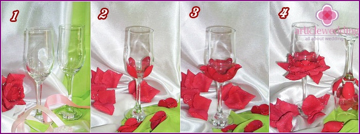 Step by step instructions decor wedding wine glass petals