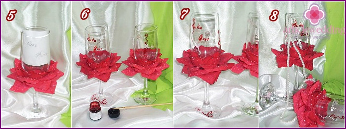 Decor wedding wine glass with rose petals: guide