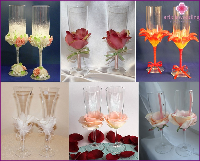 Different variants of decoration of wedding wineglasses petals