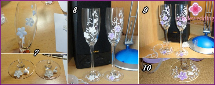 Creating a composition of wedding wine glass