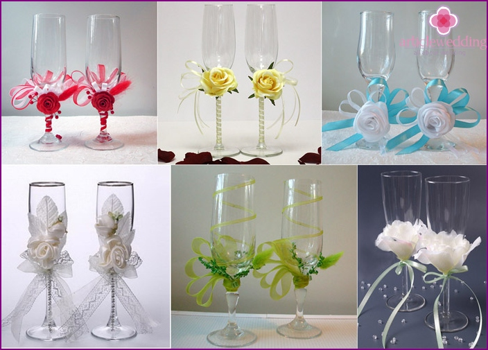 Examples of wedding wine glasses with ribbons