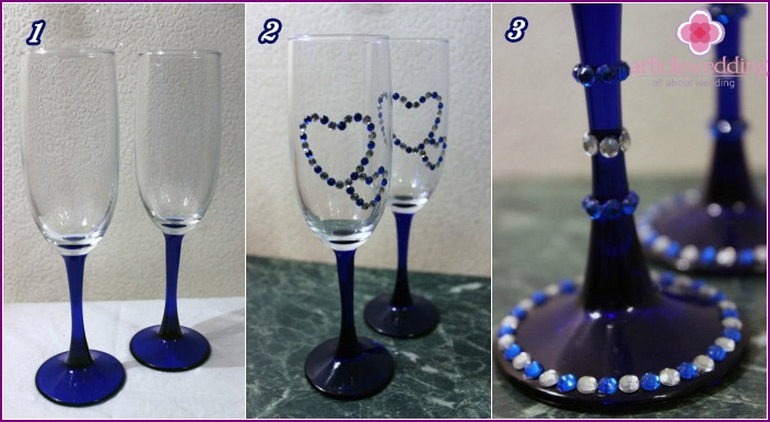 Wedding wine glasses with rhinestones - a master class