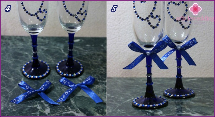 Making wedding wine glasses with rhinestones