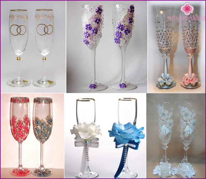 Different styles of wine glasses at a wedding rhinestone
