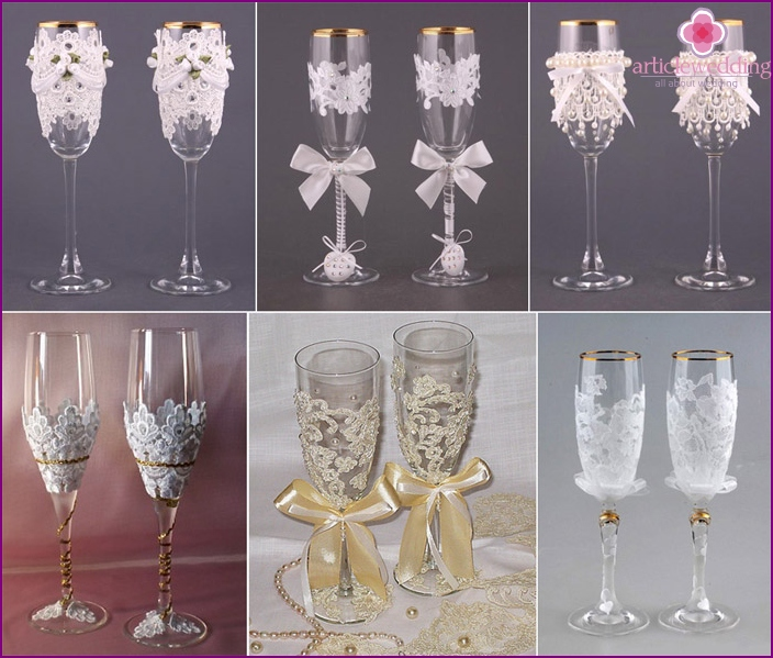 Wineglass decoration on wedding lace