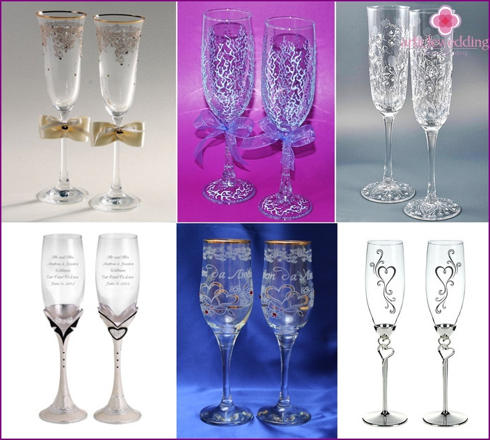 Decorative painting: decoration of wedding wineglasses options