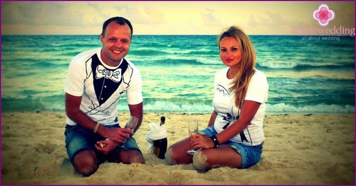 Newlyweds in celebratory T-shirts