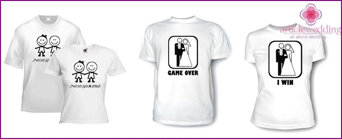 Wedding T-shirts with slogans for the newlyweds