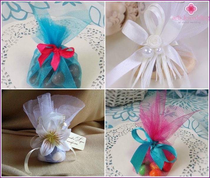 Organza bags for creating, candy boxes for wedding